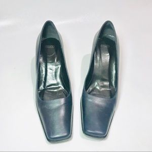 Coach Classic Navy Square Toe Heel